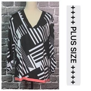 CATO Black White Stretchy Top Sz XL